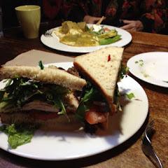 Turkey sandwich with GF bread, in background their sweet tamales! Both were wonderful!
