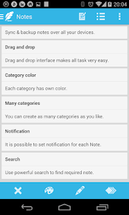 Notepad notes in categories