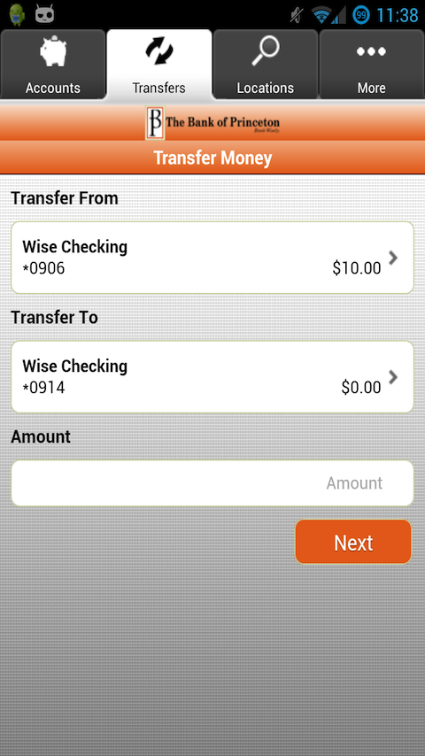 The Bank of Princeton Mobile - screenshot