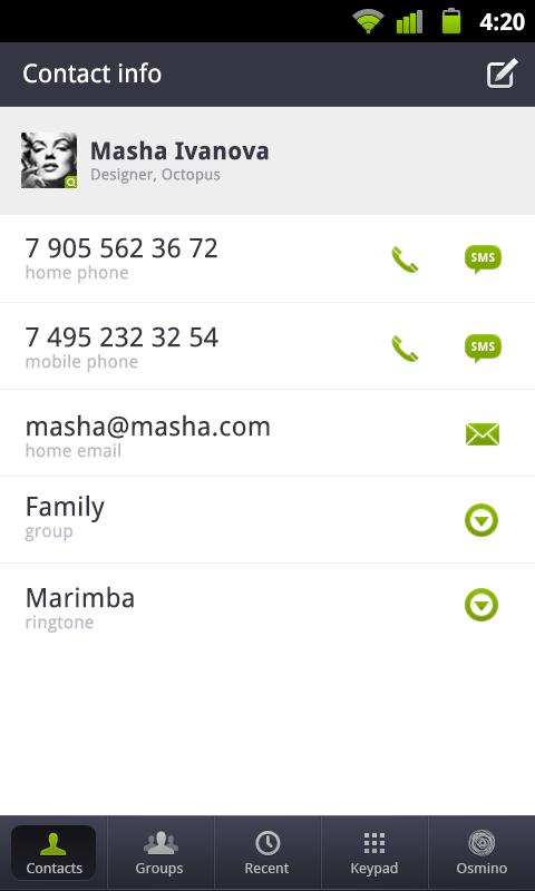 osmino: contact manager - screenshot