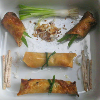 Jade Chicken Spring Rolls with Alliums, Lemongrass, Ginger and Coconut.