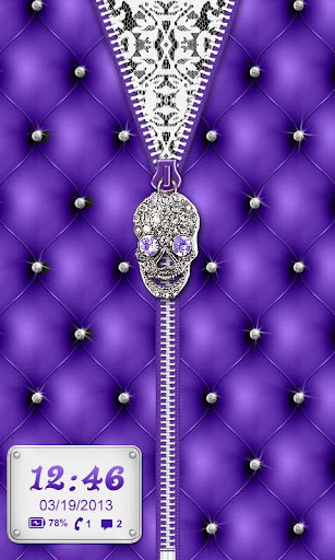 Punk Skull Theme Purple Zipper