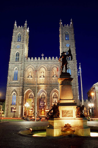 An evening view of Notre-Dame Basilica in Montreal.