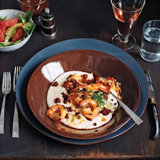 Grilled Shrimp and Grits with Chorizo and Salsa de Arbol.