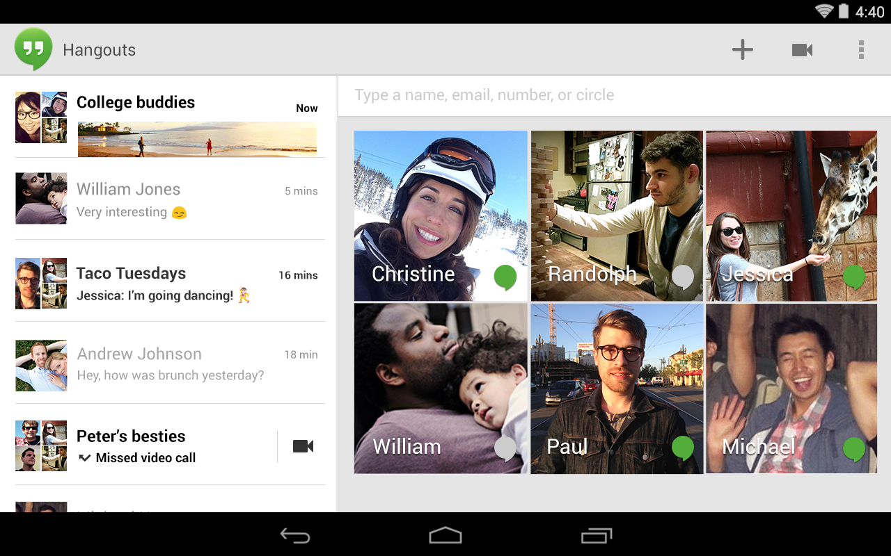 Hangouts - screenshot
