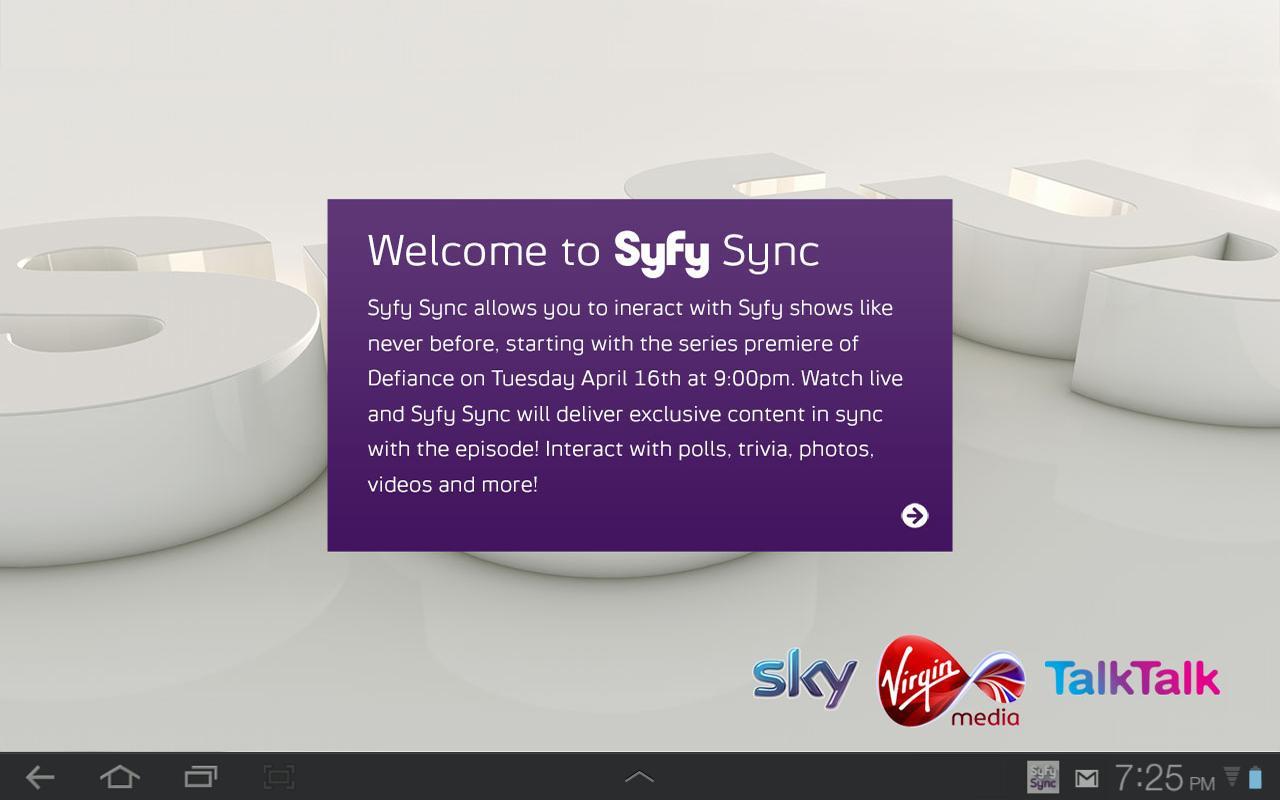 Syfy Sync UK - screenshot