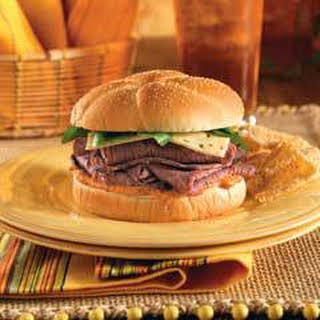 Chipotle Roast Beef Sandwich With Pepper Jack.