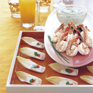 Perfectly Poached Shrimp with Green Goddess Sauce