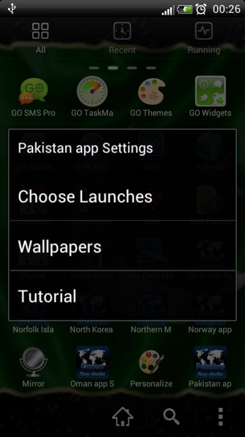 Pakistan flag clocks - screenshot