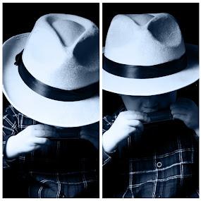 Harmonica man by Adrian Stock - Digital Art People ( child, montage, monochrome, boy, harmonica, hat )