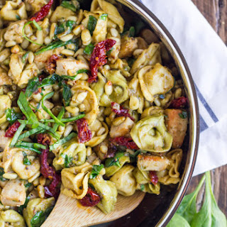 Quick and Easy One Skillet Chicken Pesto Tortellini