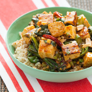 Kung Pao Tofu with Chinese Broccoli & Brown Rice.