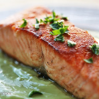 Pan Seared Salmon with Avocado Remoulade.