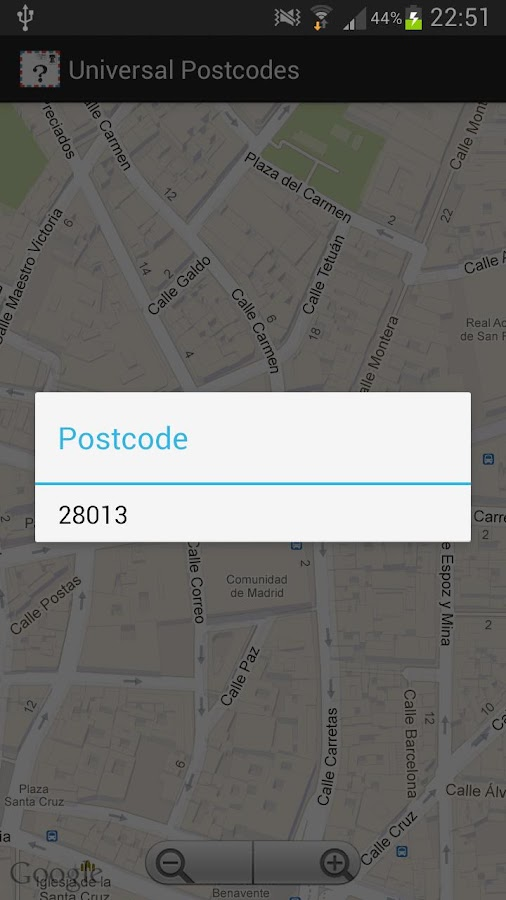 Universal Postcodes- screenshot