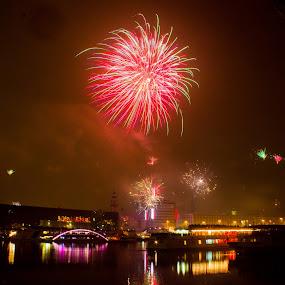 New Year Linz, Austria . by Daniel MV - Abstract Fire & Fireworks ( water, new year, happy, ship, dark, fireworks, bad, board, fire )