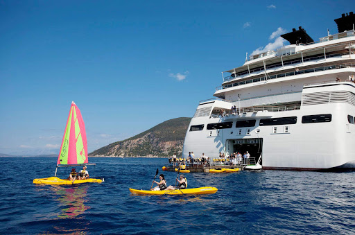 Enjoy watersports such as sailing, paddleboarding and more at Seabourn Sojourn's Marina. Water sports are complimentary.
