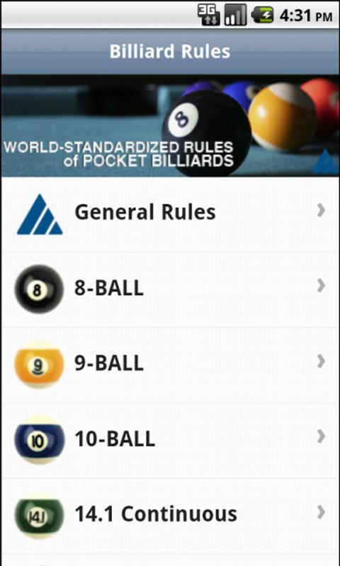 Official Billiard Rules- screenshot