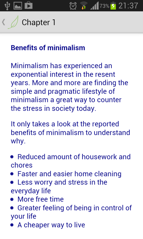 Minimalism a practical guide android apps on google play for Benefits of minimalism