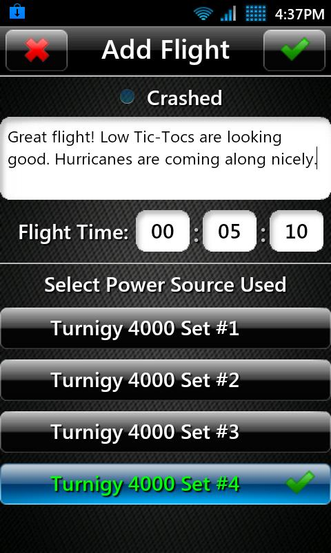 T3chDad® RC Flight Log - screenshot