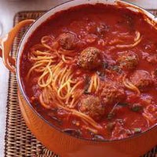 Mini Meatball and Broken Spaghetti Tomato Stoup.