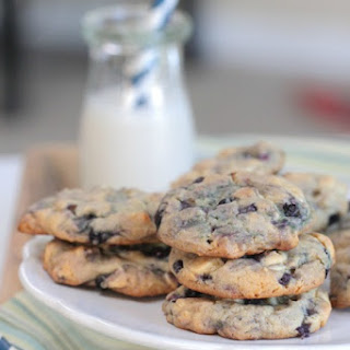 Maple and Blueberry White Chocolate Chip Pancake Cookies.