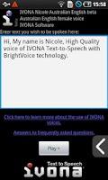 Screenshot of IVONA Nicole AU English beta