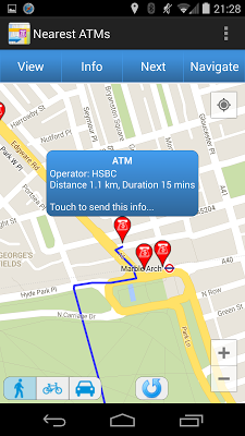 Nearest ATMs - screenshot