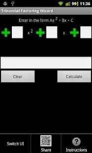 Trinomial Factoring Wizard - screenshot thumbnail