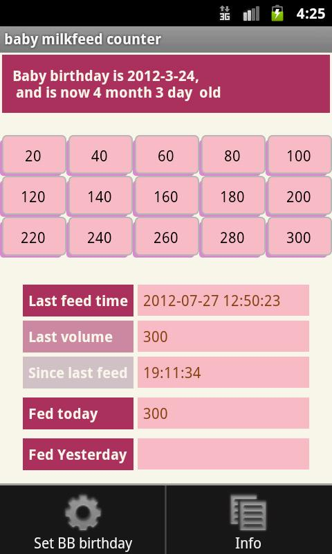 Baby milk feed counter (free)- screenshot