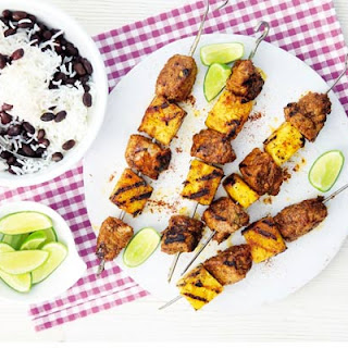 Jerk Pork & Pineapple Skewers With Black Beans & Rice