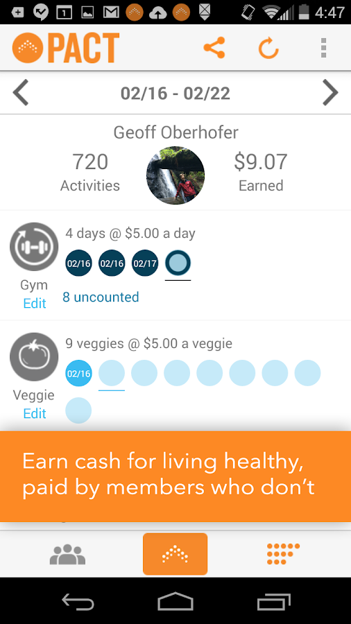 Pact: Earn Cash for Exercising - screenshot