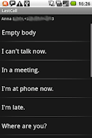 Screenshot of LastCall, 1click phone actions