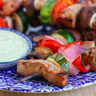 Steak and Veggie Kabobs with Creamy Avocado Dipping Sauce.