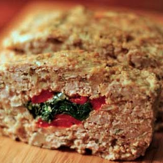 Stuffed Meatloaf with Spinach and Red Bell Pepper.