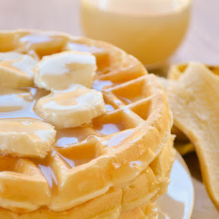 Banana Cream Waffles with Homemade Vanilla Syrup.