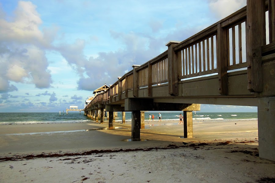 Pier on Clearwater Beach by Kathy Rose Willis - Buildings & Architecture Bridges & Suspended Structures ( water, clearwater beach, sand, wooden, blue, florida, pier, beach,  )