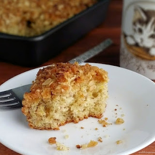 Orange and Flax Coffee Cake with Toasted Coconut Crumb Topping.