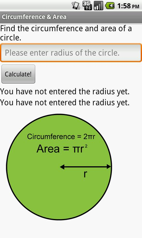 Circumference area of circle android apps on google play circumference area of circle screenshot ccuart Images