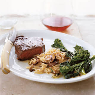 """Steak with Quick Mushroom """"Risotto""""."""