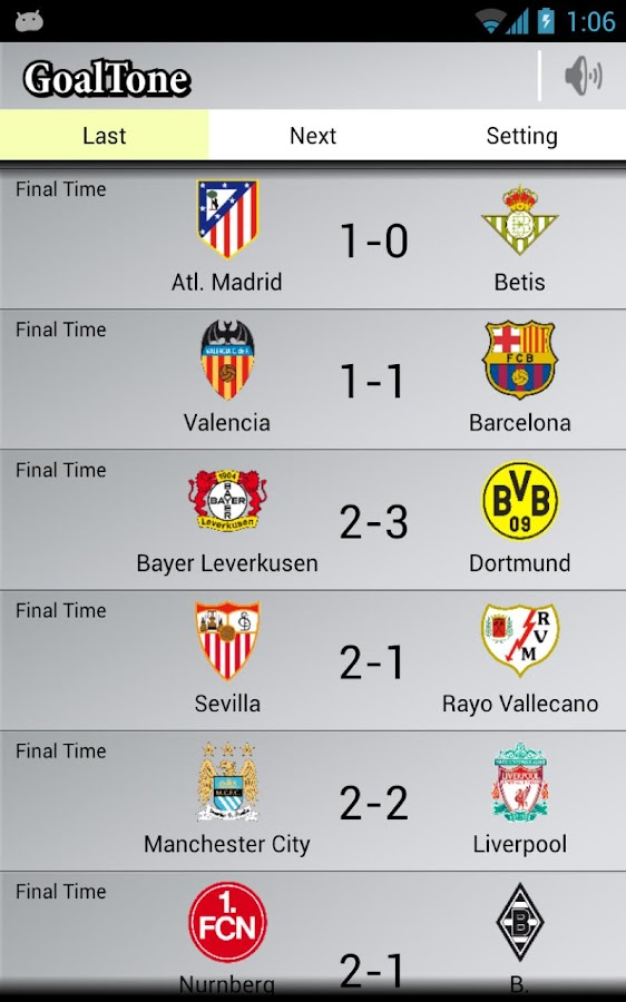 GoalTone: Live Soccer Results - screenshot