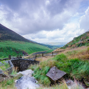 by Mark Richard Day - Landscapes Mountains & Hills ( water, fence, hills, sky, rock, peak district )
