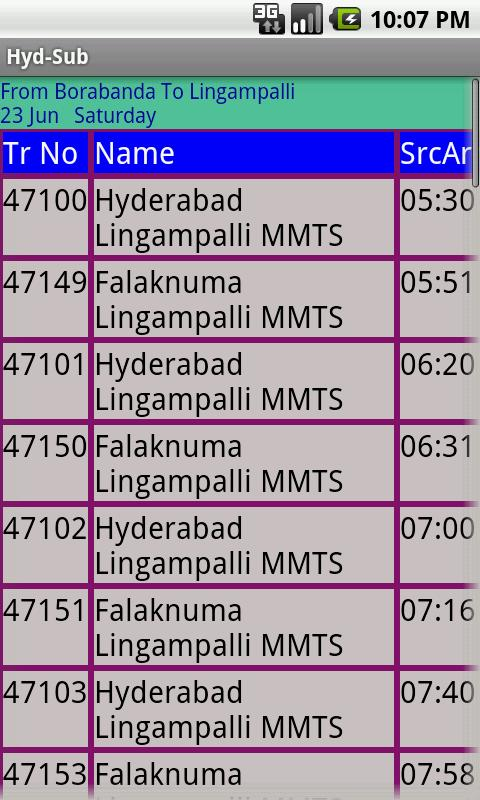Hyderabad Suburban trains- screenshot