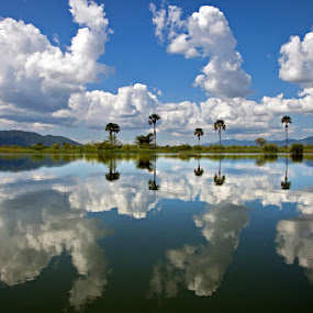 Shire River Clouds by Richard Duerksen - Landscapes Cloud Formations ( reflections, africa, malawi, shire river,  )