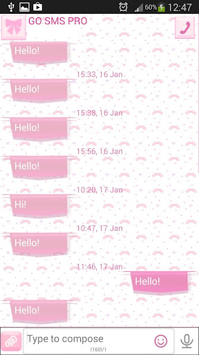 GO SMS Lovely Pink