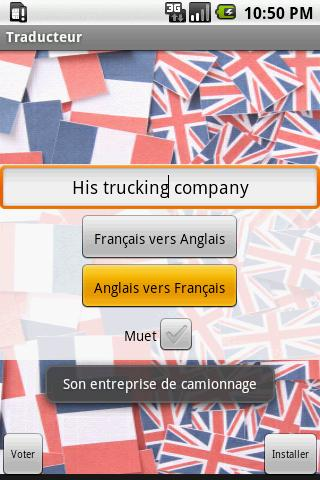 Traducteur Anglais/Francais - screenshot