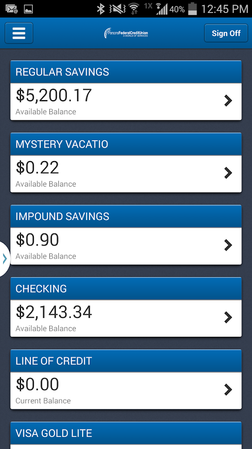 Parsons FCU Mobile- screenshot
