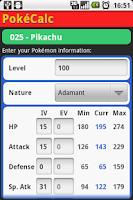 Screenshot of PokéCalc Master Edition