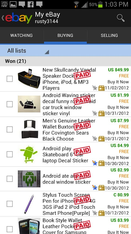 eBay Widgets - screenshot