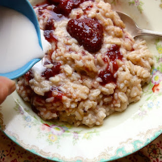 Strawberry Jam Coconut Rice Pudding