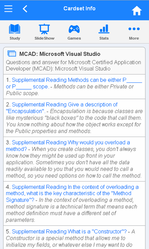 MCAD Flashcards- screenshot